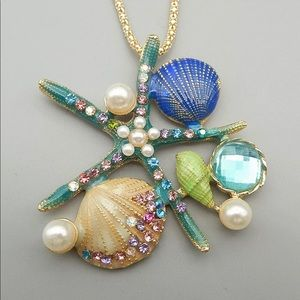 Blue Enamel Crystal Shell Conch Pendant Necklace